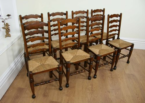 8 Ash & Elm Ladder Back Farmhouse Chairs (c.1900) - 8 Ash & Elm Ladder Back Farmhouse Chairs (c.1900) - Antiques Atlas