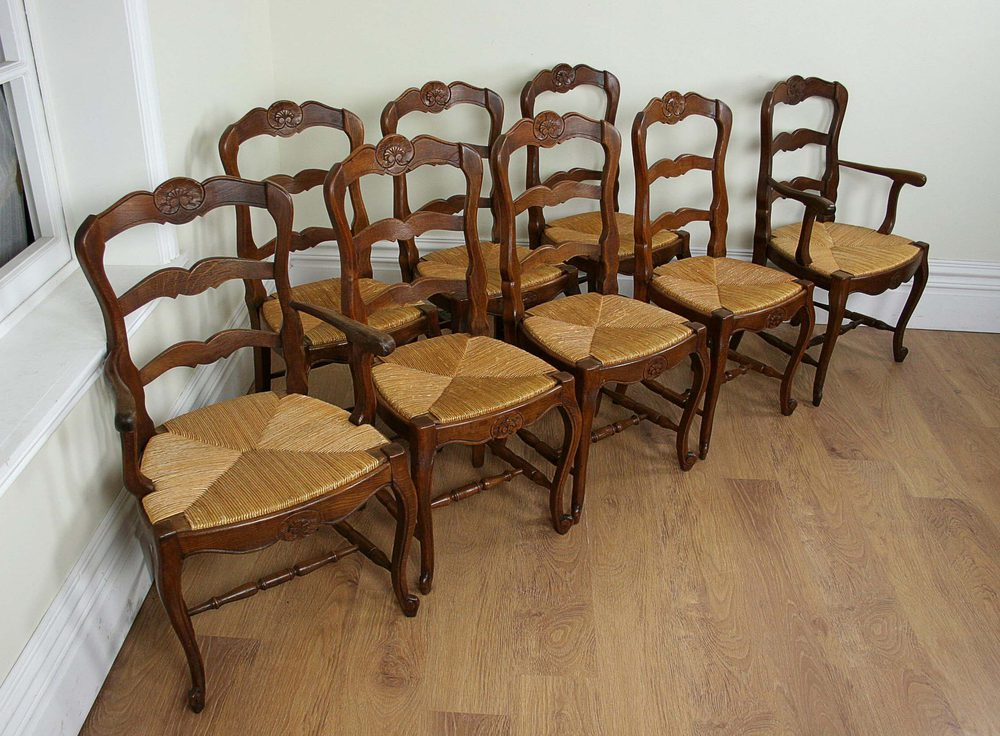 8 French Oak Ladder Back Dining Chairs (c.1910) ...