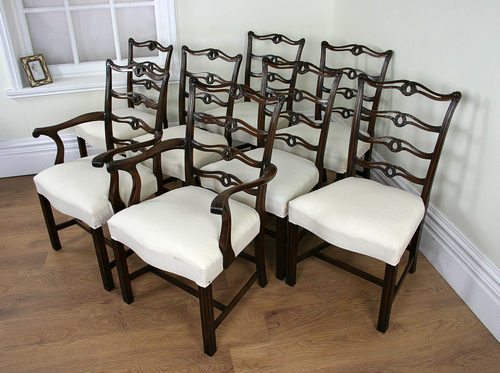 - 8 Mahogany Chippendale Style Dining Chairs C.1920 - Antiques Atlas