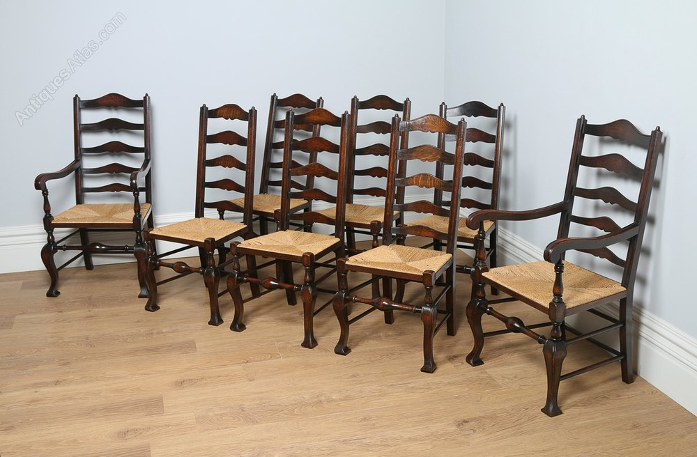 8 Oak Ladder Back Farmhouse Dining Chairs C 1890