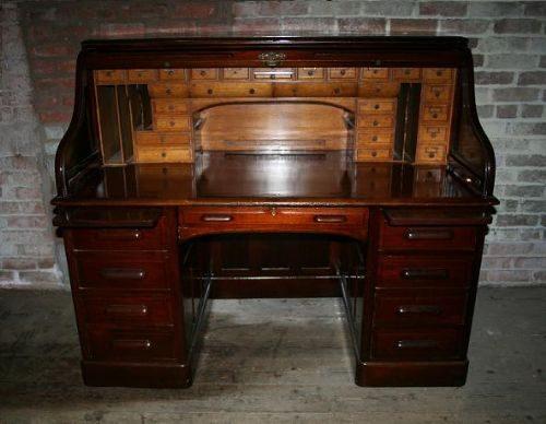 Antique American Mahogany Roll Top Pedestal Desk ... - Antique American Mahogany Roll Top Pedestal Desk - Antiques Atlas
