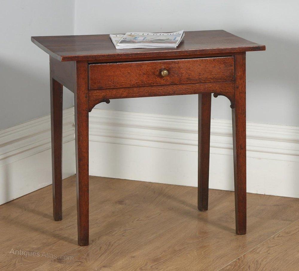 Antique English Georgian Oak Country Side Table ...