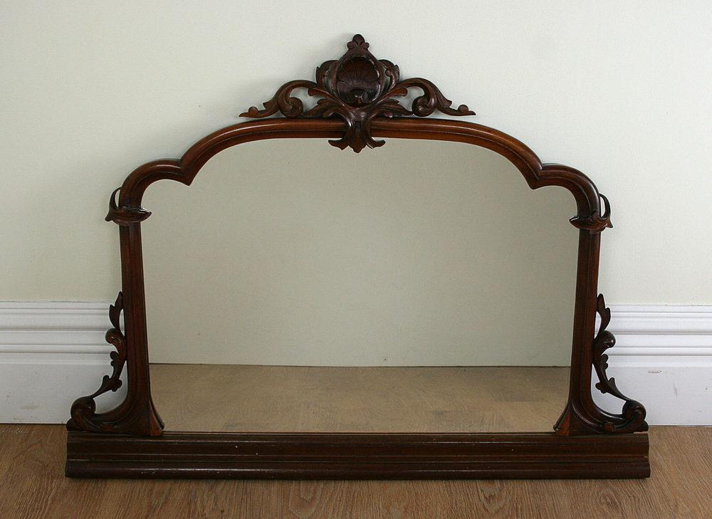 Antique Victorian Carved Gany Mirror C 1860