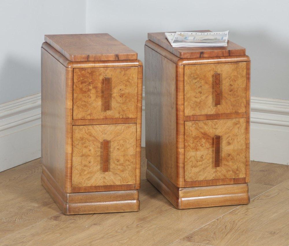 Art Nouveau Walnut 3 Piece Bedroom Suite: Art Deco Burr Walnut Three Piece Bedroom Suite