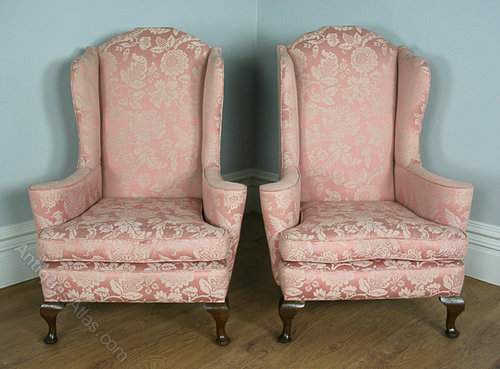 Edwardian Carolean Style Pair Wing Chairs - Antiques Atlas
