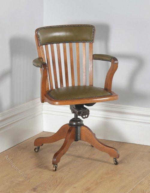 Edwardian Oak Green Leather Revolving Desk Chair Antique