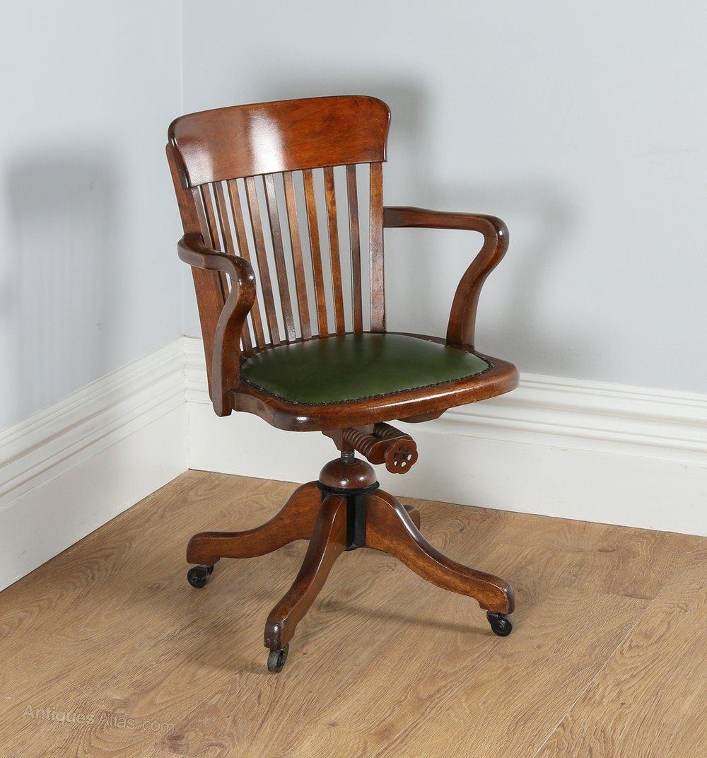 Edwardian Oak Green Leather Revolving Desk Chair