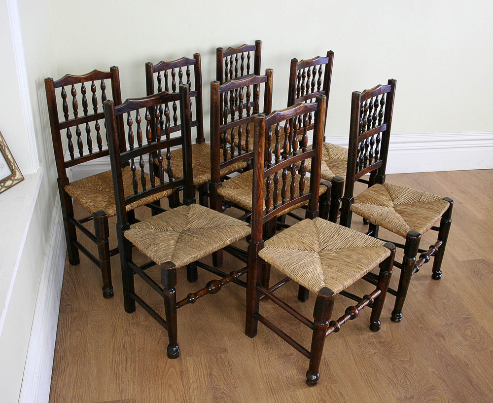 Eight Spindle Back Oak Dining Chairs C1780