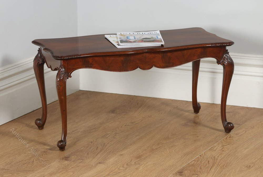 English Carved Figured Walnut Coffee Table