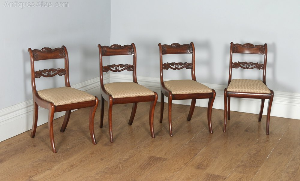 English Regency Set Of Four Mahogany Dining Chairs