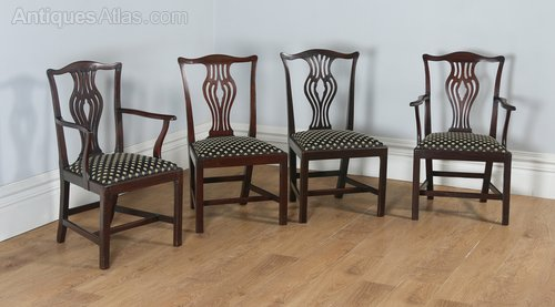 54203529c82ec Four Georgian Chippendale Mahogany Dining Chairs - Antiques Atlas
