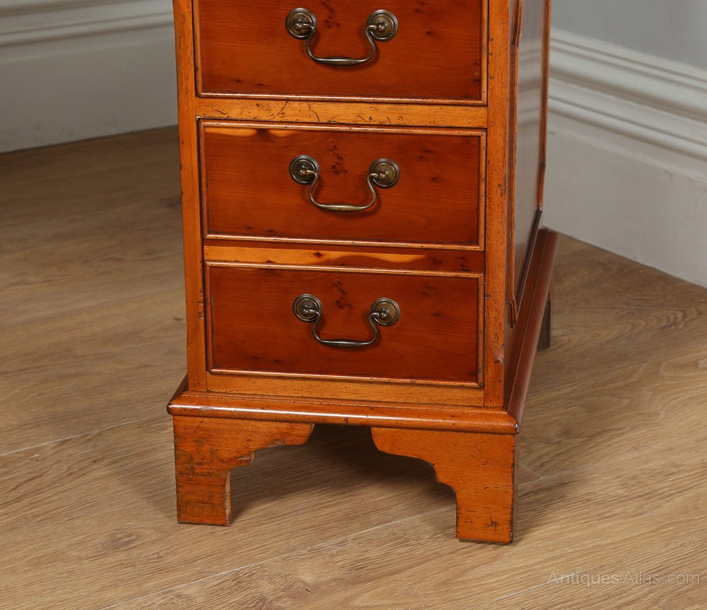 Antiques Atlas Georgian Style Yew Wood Green Leather Office Desk