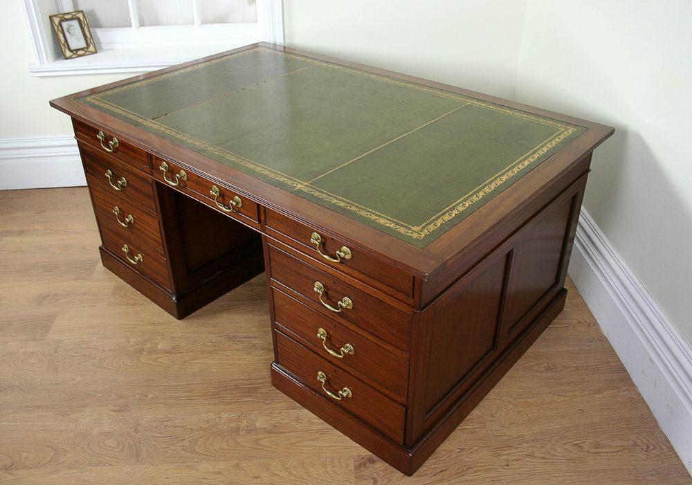 Large Edwardian Mahogany Partners Desk C 1901 Antiques Atlas