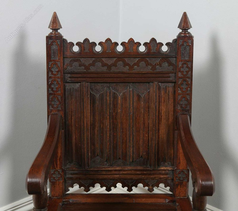 This pair of large burmese arm chairs is no longer available - Pair Of Gothic 16th Century Style Oak Armchairs Antique Armchairs Chairs Arm