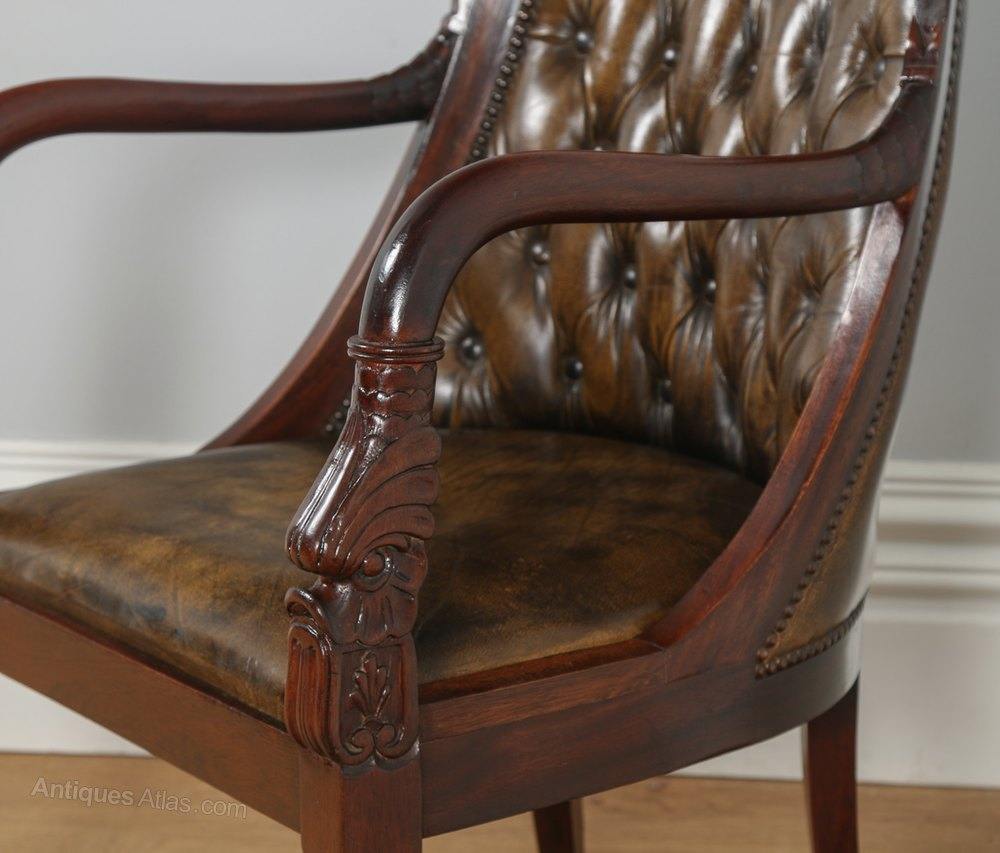 antique leather chair antiques atlas regency style mahogany amp brown leather 1287