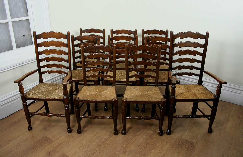 Set Of 10 Oak Farmhouse Ladder Back Chairs ...