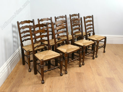 Set Of 8 Ash U0026 Beech Farmhouse Ladder Back Chairs Antique ...