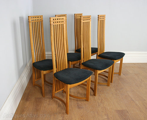 Six Actona Art Deco Oak High Back Dining Chairs