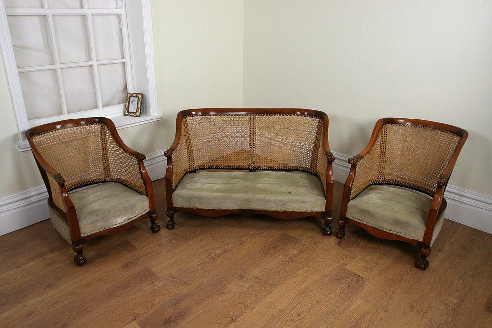 Beau Three Piece Walnut Bergere Cane Suite (c.1920) ...