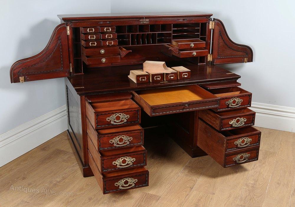 Victorian Mahogany Roll Top Derby Pedestal Desk Antiques
