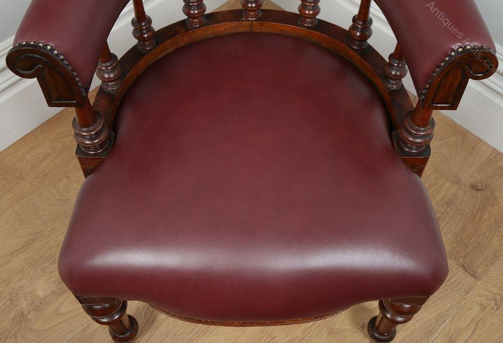 Victorian Oak Burgundy Red Leather Desk Chair Antiques Atlas