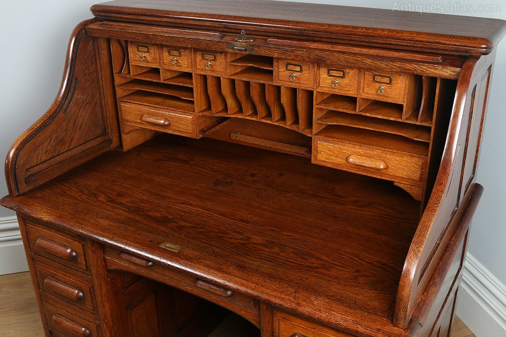 Victorian Oak Roll Top Pedestal Desk Circa 1890