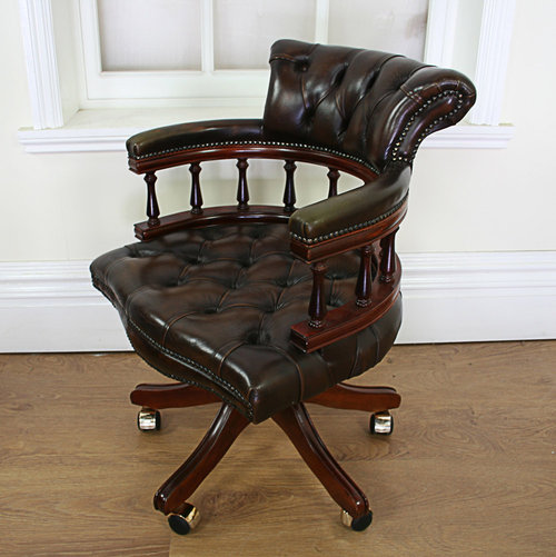 - Antiques Atlas - Victorian Style Leather Revolving Office Chair