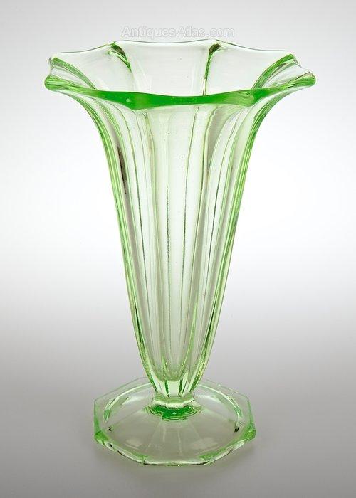 Antiques Atlas Art Deco Uranium Green Glass Vase