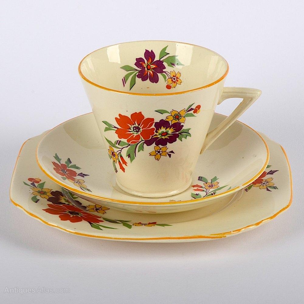 antiques atlas vintage art deco phoenix ware cup saucer and plate